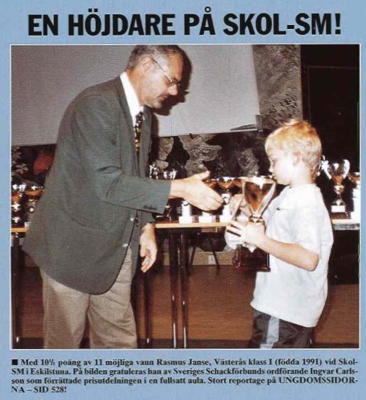 Rasmus vinner sitt första Skol-SM 9 år gammal Ur TFS nr 8 2000